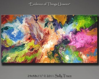 "Modern giclee print on canvas from my original abstract painting, fluid painting ""Evidence of Things Unseen"" 24x48, spiritual painting"