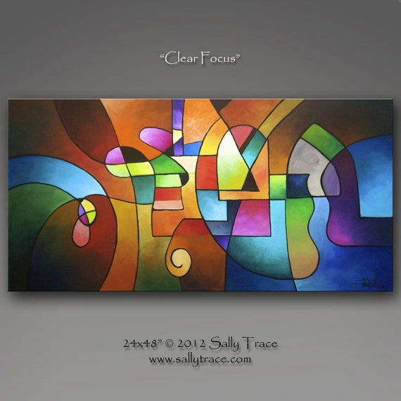 Original abstract painting, large colorful expressionist painting...Clear Focus...24x48 inches...by Sally Trace