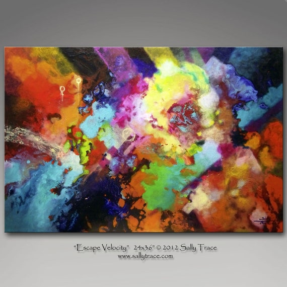 Original abstract painting, large colorful expressionist painting ESCAPE VELOCITY by Sally Trace