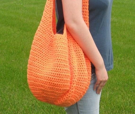 Orange Extra Large  Hobo Shoulder Tote  Market  Bag