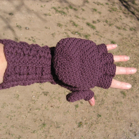 READY TO SHIP Cashmere Blend  Long Lacy Cuff Convertible Fingerless Gloves,  Mittens w/ Thumb Flaps,  Size 7