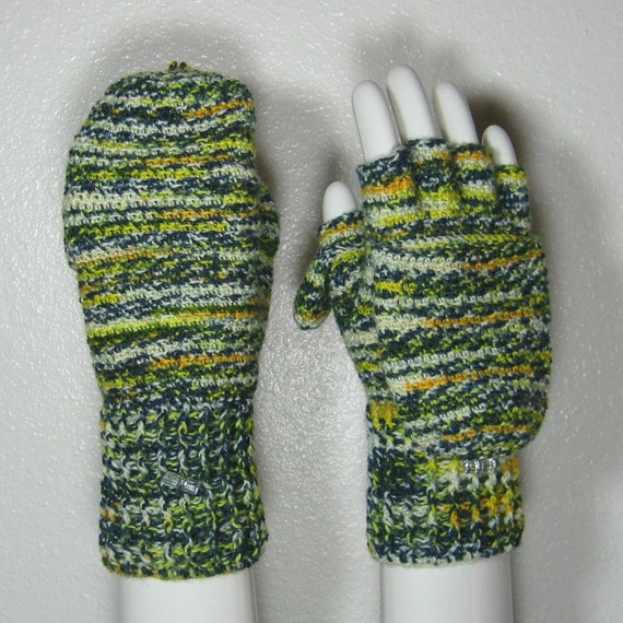 READY TO SHIP Green 'n Gold  Convertible  Fingerless  Gloves  Mittens with Thumb Flaps in Sock Wool,  Size 7.5
