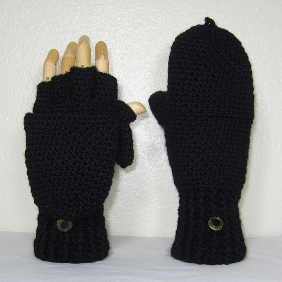 Black Cashmere Blend Convertible Finger Gloves Mittens w/ Thumb Flaps  Size 7