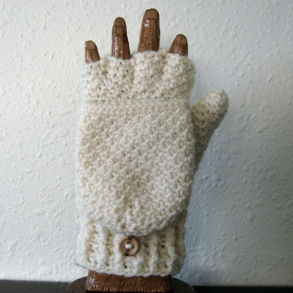Mens gloves with mitten flap -  Mittens With Flaps In Cream Zoom