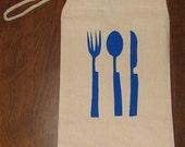 Geometric Blue Utensils Canvas Lunch Sack