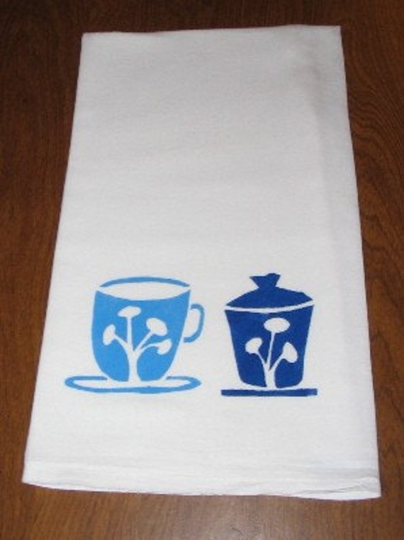 Blue and Violet Tea Items Flour Sack Towel