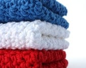 Crochet Dishcloths Cotton Dishcloths  Red White and Blue