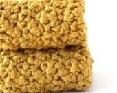 Organic Cotton Washcloth Crochet Washcloths Cotton Dishcloths Crochet Dishcloths Mustard Yellow Choice of Sizes