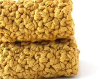 Organic Cotton Washcloth Crochet Washcloths Cotton Dishcloths Crochet Dishcloths Mustard Yellow Discontinued - Limited Quantity Remaining