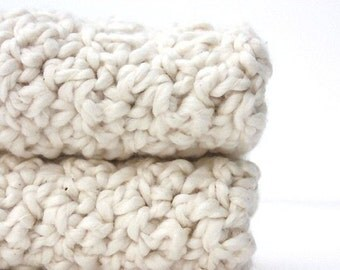 Crochet Cotton Washcloths Baby Shower Gift Natural Organic Cotton Almond White