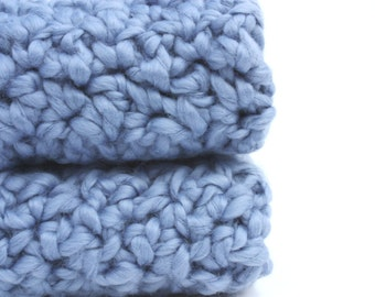 Crochet Washcloths Eco Friendly Organic Cotton Washcloths Blue and You pick the size