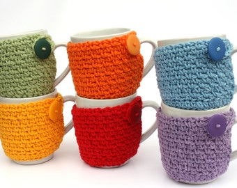 Crochet Coffee Cup Cozy Tea Cozy Cup Sleeve You Pick the Color Stocking Stuffer Novelty Teacher Gift