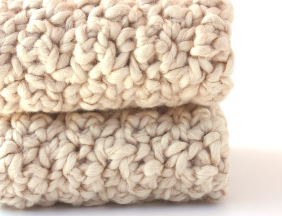 Crochet Cotton Washcloths Natural  Organic Cotton