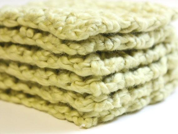 Organic Cotton Crochet Makeup Remover Scrubbies Set of 6 Mini Cloths