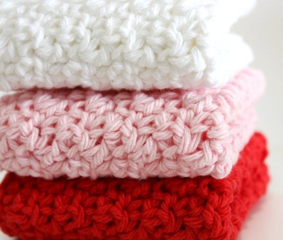 Crochet Cotton Dishcloths  Red Pink & White
