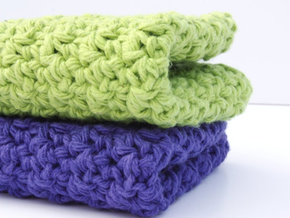 Purple and Green Crochet Cotton Dishcloths Eco Friendly Wash Cloths
