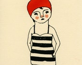Swimmer gocco screen print red