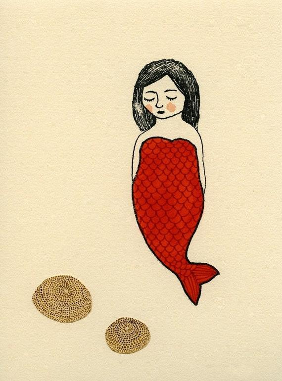 red mermaid with sea urchin gocco screen print