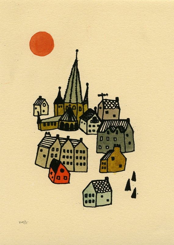 tiny village gocco screen print
