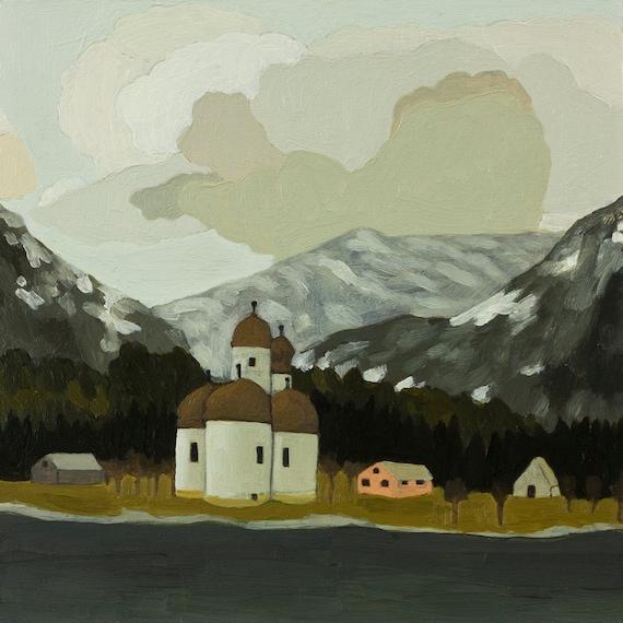 Tiny Village original oil painting
