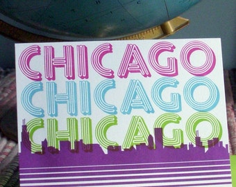 letterpress chicago retro tshirt greeting card purple blue & lime with chicago skyline