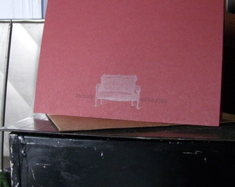 SALE 50% OFF letterpress it's lonely without you greeting card couch everyday