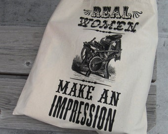real women make an impression silkscreen tote letterpress c&p black ink on natural cotton tote