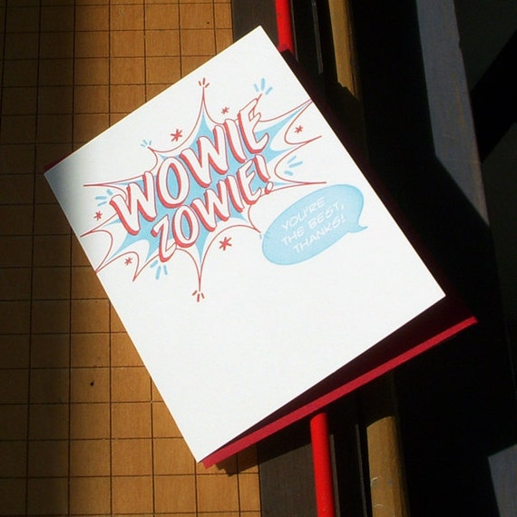 SALE 50% OFF letterpress comic book style wowie zowie! you're the best, thanks! greeting card red & blue thank you