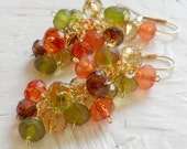 Yellow Brown Green Orange Lucite Gold Earrings