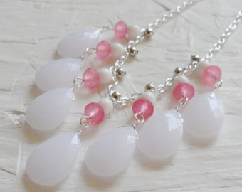 White and Pink Silver Bib Necklace