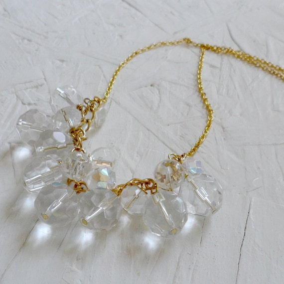 Iridescent Clear Glass Cluster Bib Necklace