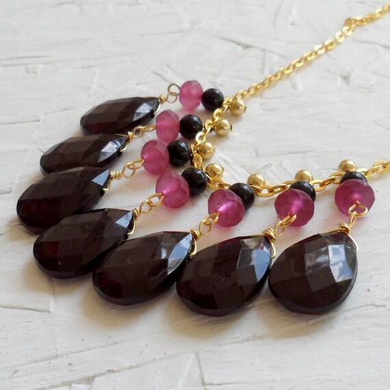SAMPLE SALE 50% OFF - Black Fuchsia Gold Bib Necklace