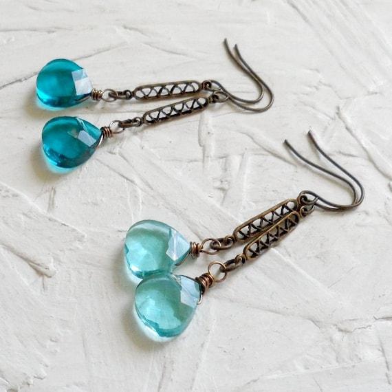 Teal or Sky Blue Antique Brass Earrings