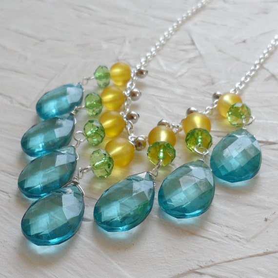 SALE - Aqua Lime and Yellow Silver Bib Necklace