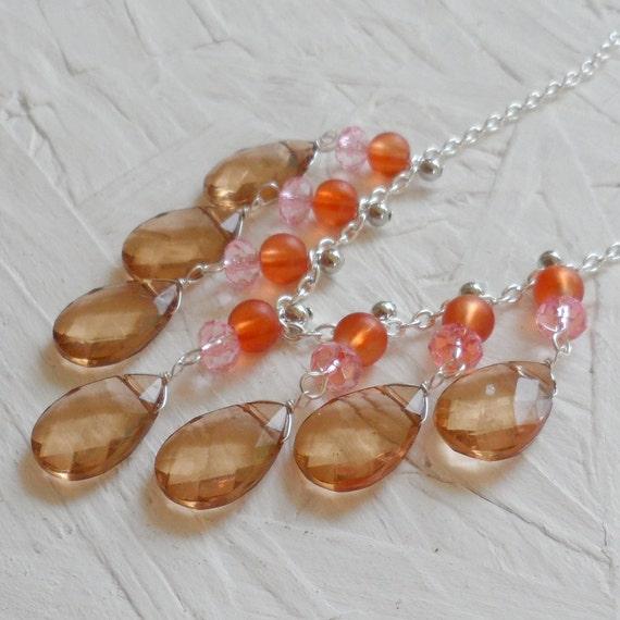 SAMPLE SALE 50% OFF - Pink Orange and Tan Silver Bib Necklace