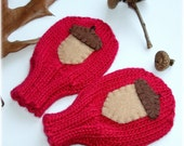 Ode To Chicken Little .... Baby Mittens, Red Size 3 to 6 months