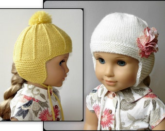 "Marigold Ear Flap Hat  - PDF Knitting Pattern For 18"" American Girl Dolls - Doll Clothes - Instant Download"