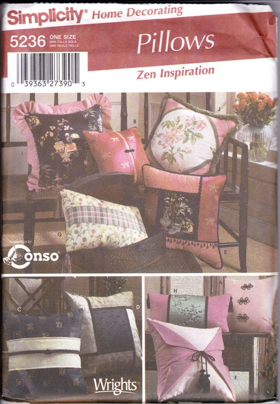 Simplicity Sewing Pattern 5236 - Zen Inspired Throw Pillows - Cushions - Home Decorating Asian