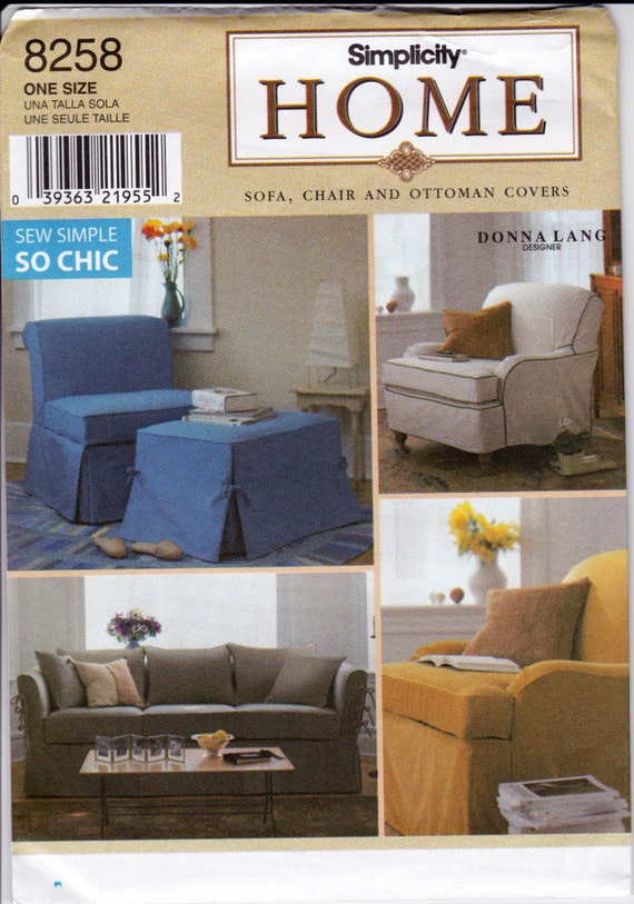 Sofa, Chair & Ottoman Slip Covers Sewing Pattern Simplicity Home 5527 Decorating Interior Design