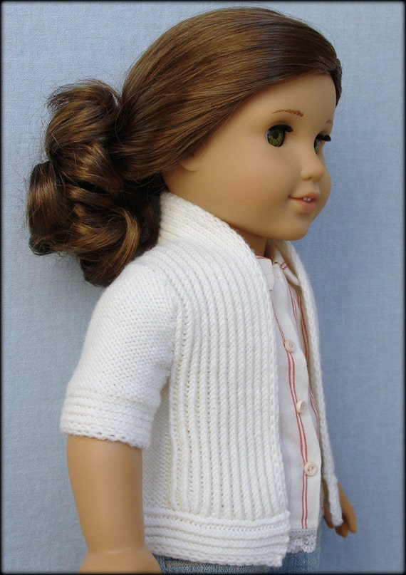 "Amelie Open-Front Cardigan - PDF Knitting Pattern For 18"" American Girl Dolls"