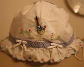 Vintage bird baby bonnet
