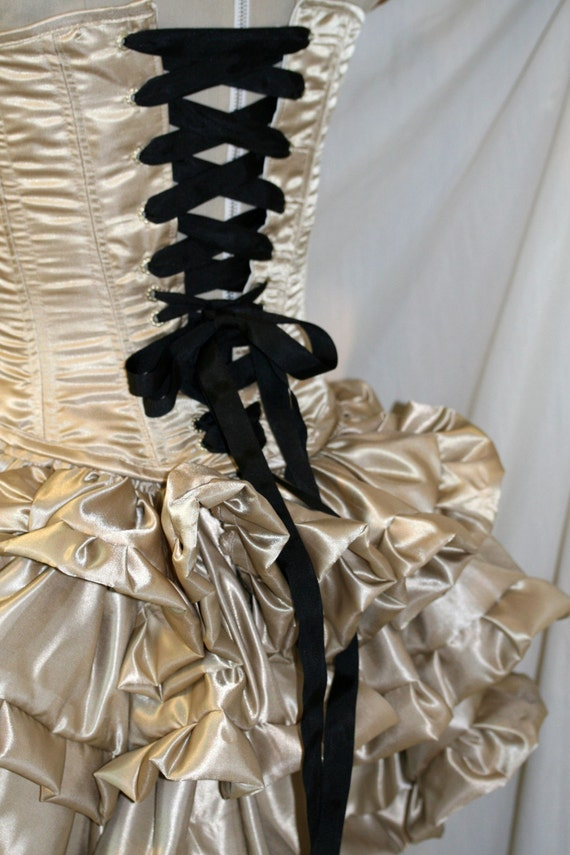 Champagne satiny burlesque bustle mini ruffle skirt.  Multi Size.