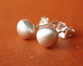 Satin Sterling Studs, Fine Silver Stud Earrings, Sterling Ball Stud Earrings