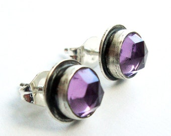 Amethyst Stud Earrings, Purple Amethyst Earrings, Amethyst Studs - Essence Studs