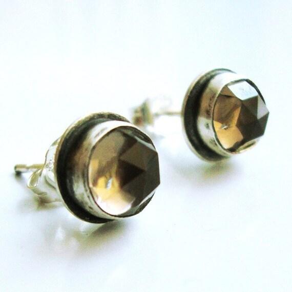 Smokey Quartz Earrings, Brown Smokey Quartz Studs, Stud Earrings - Smokin' Studs