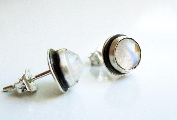 Moonstone Stud Earrings, Moonstone Studs - Sparkling Moon Drops