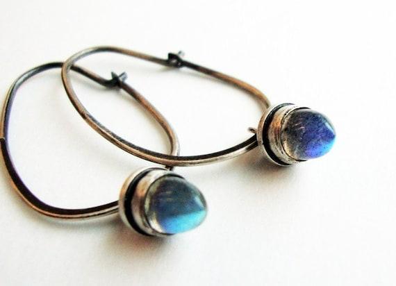 Labradorite Hoop Earrings, Labradorite Earrings - Drop of Neptune