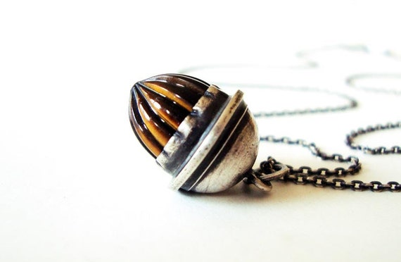 RESERVED FOR MICHELE-Tiger Eye Necklace, Carved Tiger Eye Acorn Charm Pendant - Fall Acorn Necklace