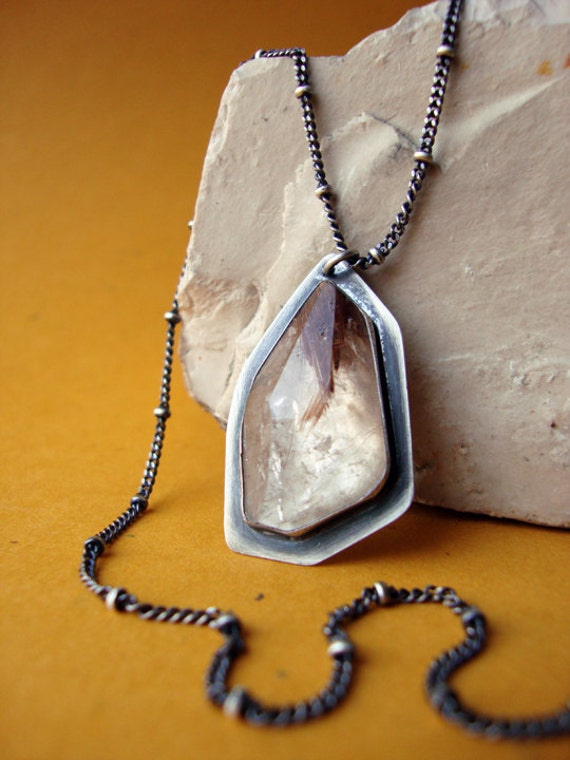 Faceted Rutilated Quartz Necklace, Modern Random Irregular Facet Rutilated Quartz Necklace