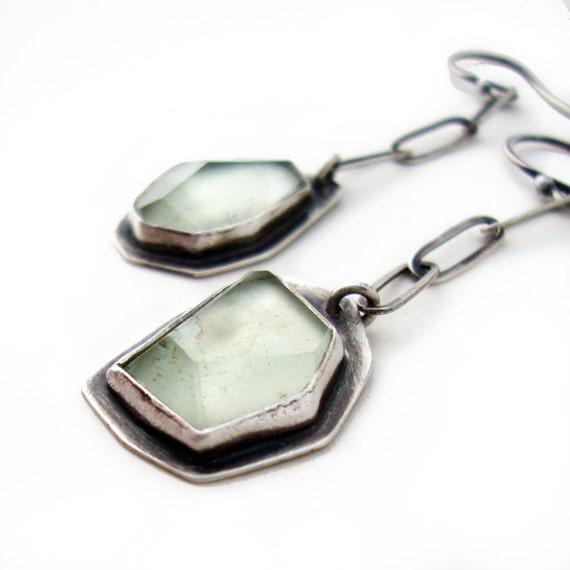 Faceted Green Amethyst Earrings, Prasiolite Earrings, Modern Random Irregular Facet Pale Green Dangle Earrings-LONG